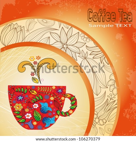 cup coffee. menu.  background - stock vector