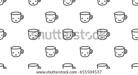 Cup Coffee Tea Juice Paper Doodle Cartoon Seamless Pattern Wallpaper Background