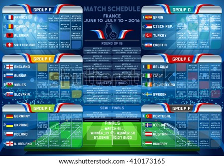Cup EURO final match schedule. 3D sport Vector Football European Championship Soccer final chart country Infographic. France Europe tournament group stage participating icon team Building Stadium flag