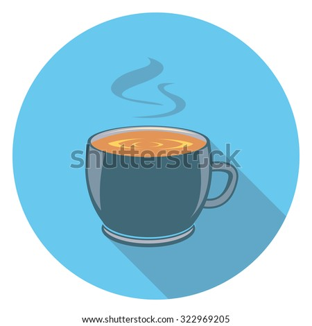cup flat icon in circle - stock vector