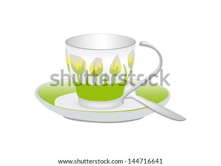 Cup for tea or coffee decorated tulips - stock vector