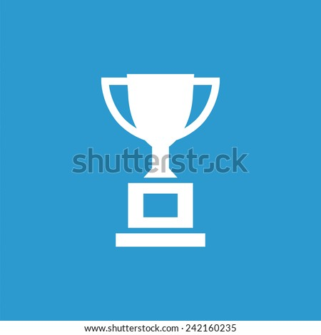 cup icon, isolated, white on the blue background. Exclusive Symbols  - stock vector