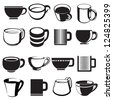 cup icons, signs and symbols set - stock photo