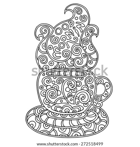 Cup of aromatic tea or coffee with text. Doodle element for  restaurant menu design. Silhouette of decorative morning cup with saucer and steam.  Hand-drawn vector illustration isolated on white. - stock vector