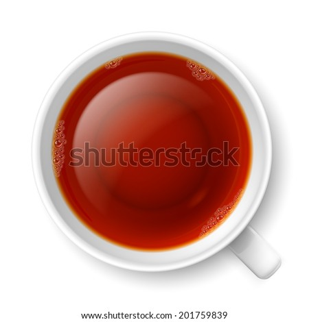 Cup of black tea over white background. Top view - stock vector