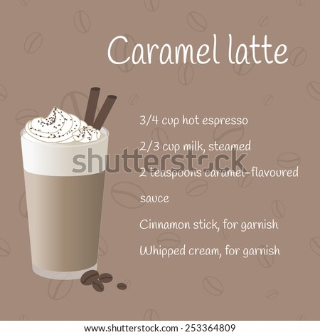 Cup of caramel latte on coffee background with recipe. Menu element for bar, cafe or restaurant. - stock vector