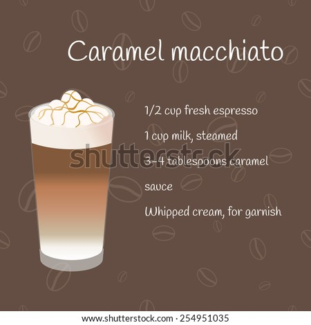 Cup of caramel macchiato on coffee background with recipe. Menu element for bar, cafe or restaurant. - stock vector