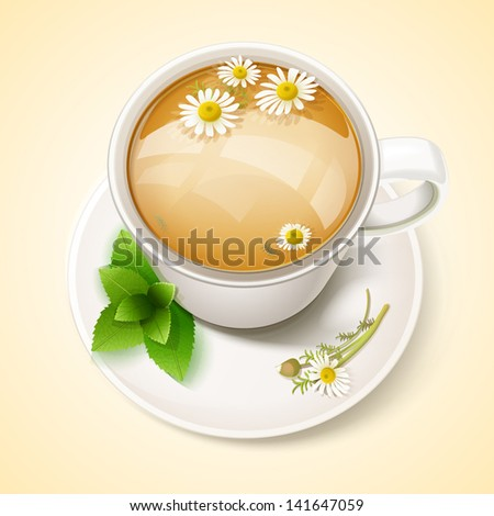 cup of chamomile tea with chamomile flower and mint - stock vector