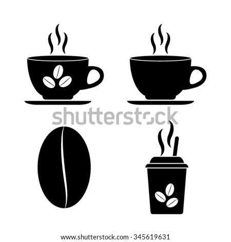 Cup of cofee - vector icon, set - stock vector
