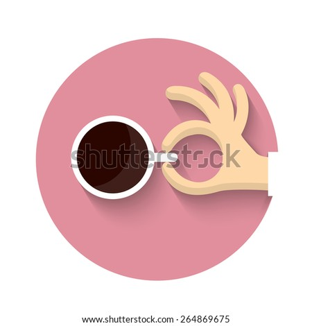 Cup of coffe with hand in cartoon style. Vector EPS10 - stock vector