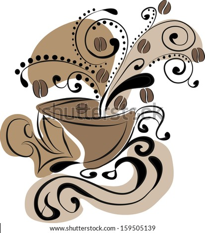 cup of coffee - abstraction - stock vector
