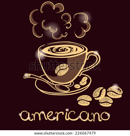 cup of coffee americano for decorate the cafe - stock vector