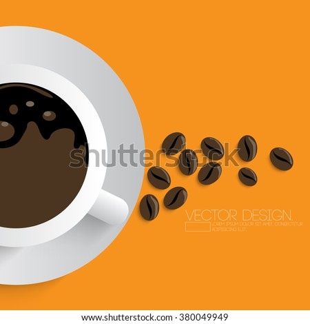 cup of coffee and beans - stock vector