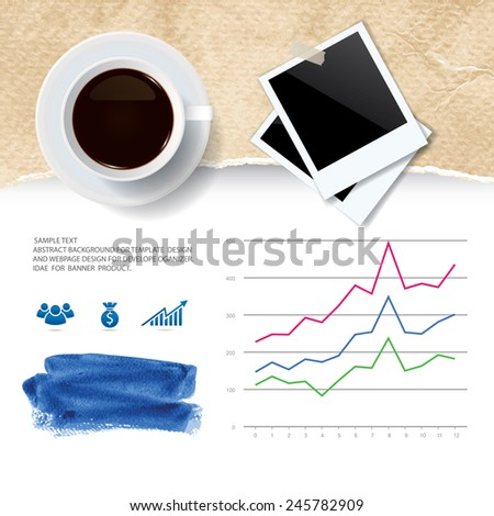 Cup of coffee and blank photo frame with ripped vintage paper texture and abstract business graph. Vector infographic background for template design. - stock vector