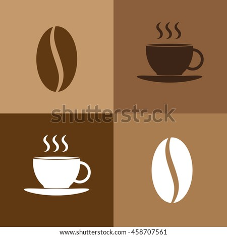 Cup of coffee and coffee beans logo icon
