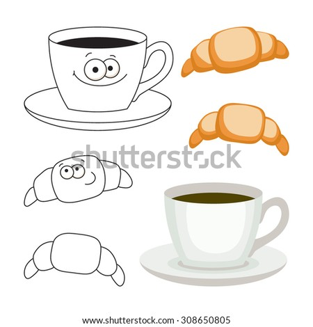 Cup of coffee and croissants set, vector illustration. - stock vector
