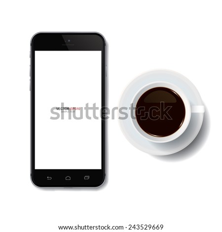 Cup of coffee and mobile phone with blank screen area for copy space. Vector illustration. - stock vector