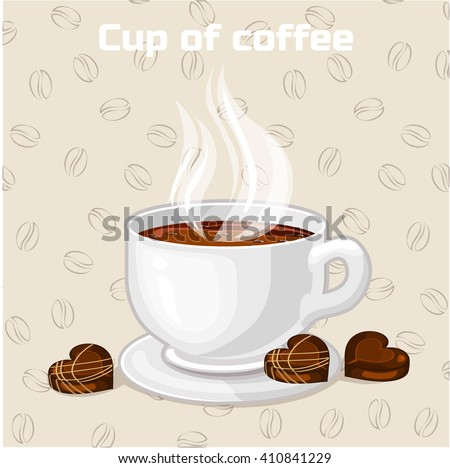 Cup of coffee and sweets. Vector Icon. Set of food and drink - stock vector