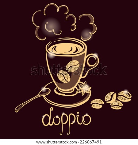 cup of coffee doppio for decorate the cafe - stock vector