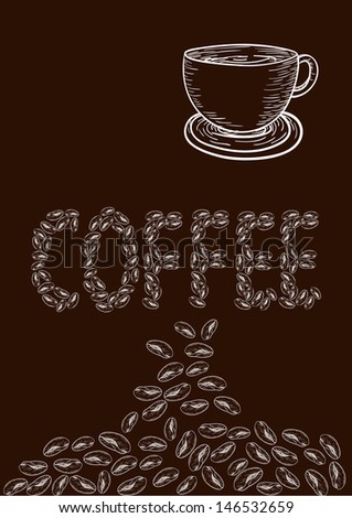 Cup of Coffee drawing. This illustration is layered for easy manipulation and custom coloring - stock vector
