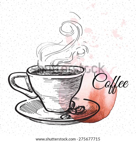 Cup of coffee. Hand drawn illustration - stock vector