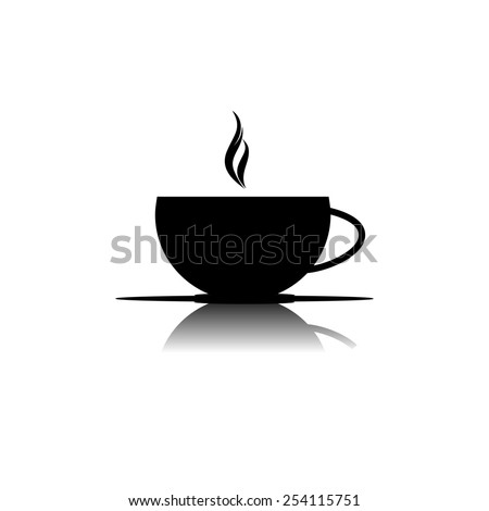 cup of coffee icon - black vector illustration - stock vector