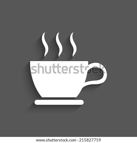 cup of coffee icon with shadow on a grey background