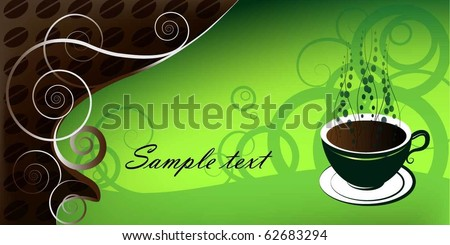 cup of coffee, illustration on green background - stock vector