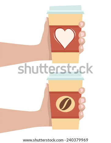 Cup of coffee in hand  - stock vector