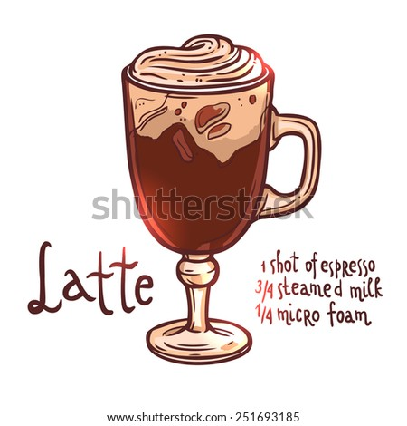 cup of Coffee Latte on white background with typography, hand drawn illustration - stock vector
