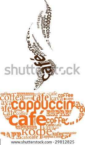 cup of coffee made from typography, vector - stock vector