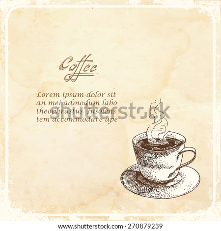 Cup of coffee on a retro background. Vector illustration.