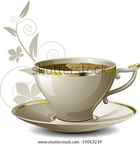Cup of coffee on floral background over white - stock vector