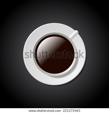 Cup of coffee on saucer - stock vector