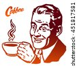 Cup of Coffee presented by Vintage Man, Hand drawn Vector Artwork. Usable as part of Logo for Cafe, Restaurant or any kind of advertising in Web or as printed Design.
