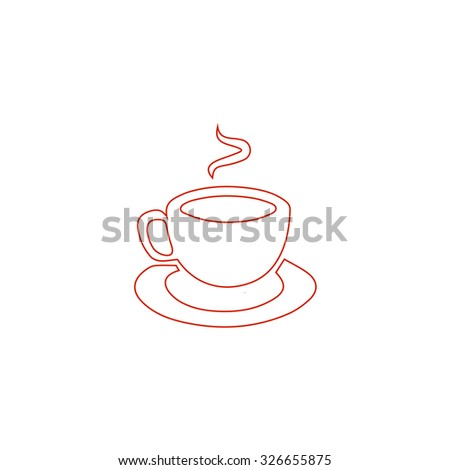 Cup of coffee. Red outline vector pictogram on white background. Flat simple icon