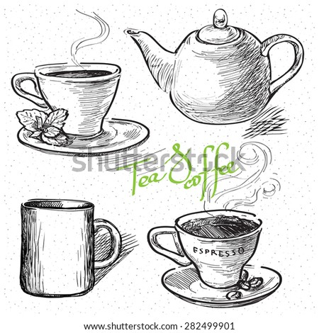 Cup of coffee, tea, mug, teapot. Hand drawn illustration - stock vector