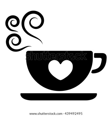 White Black Coffee Cup Bean Hearts Stock Vector 437367856 ...