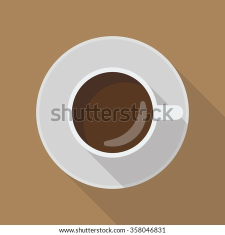 Cup of coffee top view. flat style with long shadow - stock vector