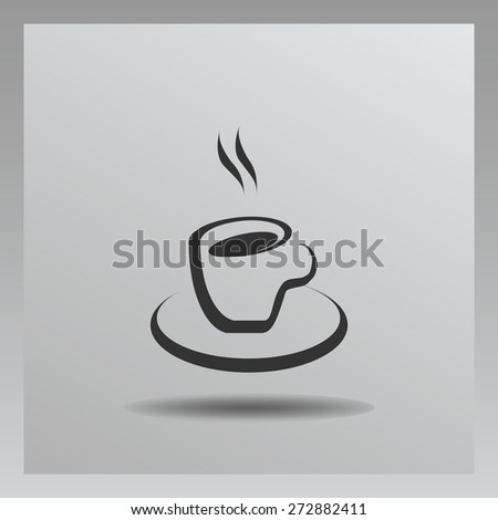 cup of coffee vector icon. Flat design style - stock vector