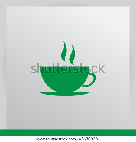 Cup of coffee vector illustration. Flat design style - stock vector