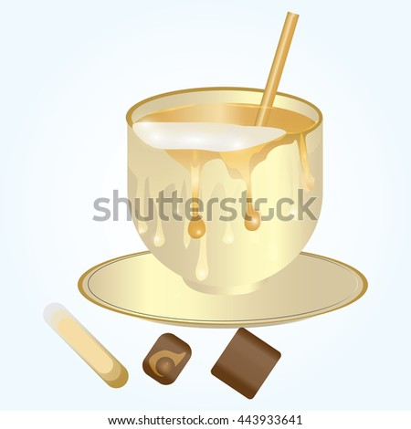 cup of coffee with a splash of milk candy isolated modern creative art vector illustration white background - stock vector