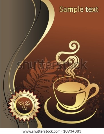 Cup of coffee with abstract background - stock vector