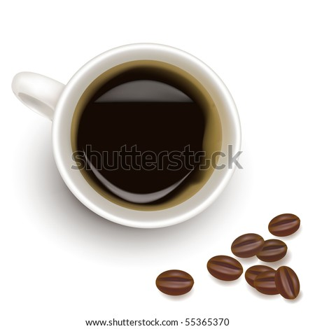 Cup of coffee with coffee grain. Photo-realistic vector. - stock vector