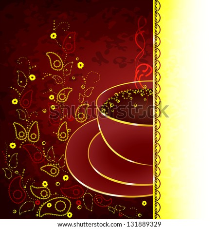 Cup of coffee with floral design elements - stock vector