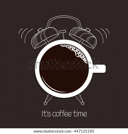 Cup of coffee with hand drawn alarm clock over blackboard background. Break time, good morning, drinks menu design concept