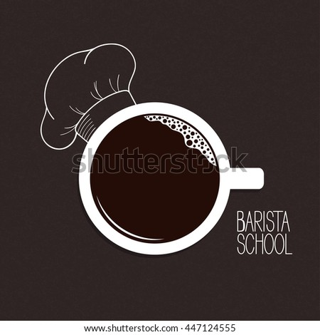 Cup of coffee with hand drawn chef hat over blackboard background. Barista or drinks menu concept