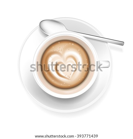 Cup of coffee with heart shape in the foam - isolated on white background. Vector illustration. - stock vector