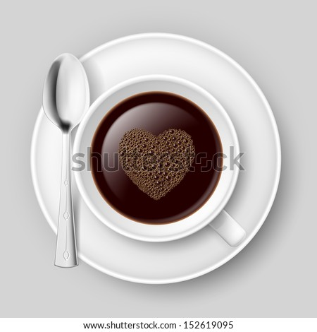 Cup of coffee with heart top. Illustration on grey background.