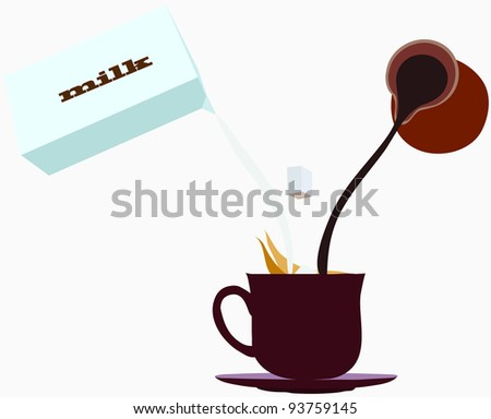cup of coffee with milk - stock vector